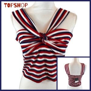 Topshop Red/White/Blue Striped Crop Top Size 10